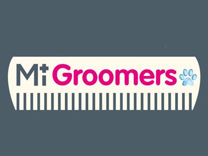 MiGroomers dog grooming service logo